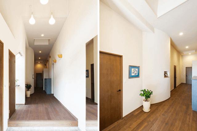 廊下が広い家の場合、カラフルな壁紙を選んでも問題ないように思うかもしれませんが、色がある壁紙だと、かえって圧迫感が出てしまうかもしれません。